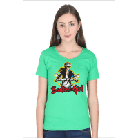 badass girl - green female premium tshirt